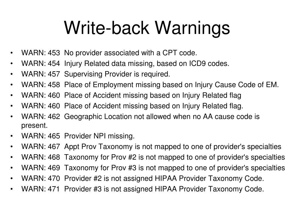 Write-back Warnings