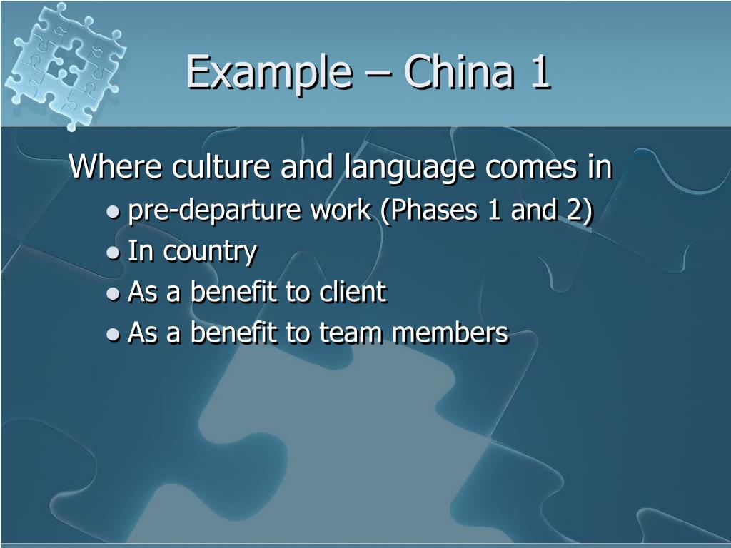Example – China 1