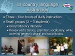 in country language instruction