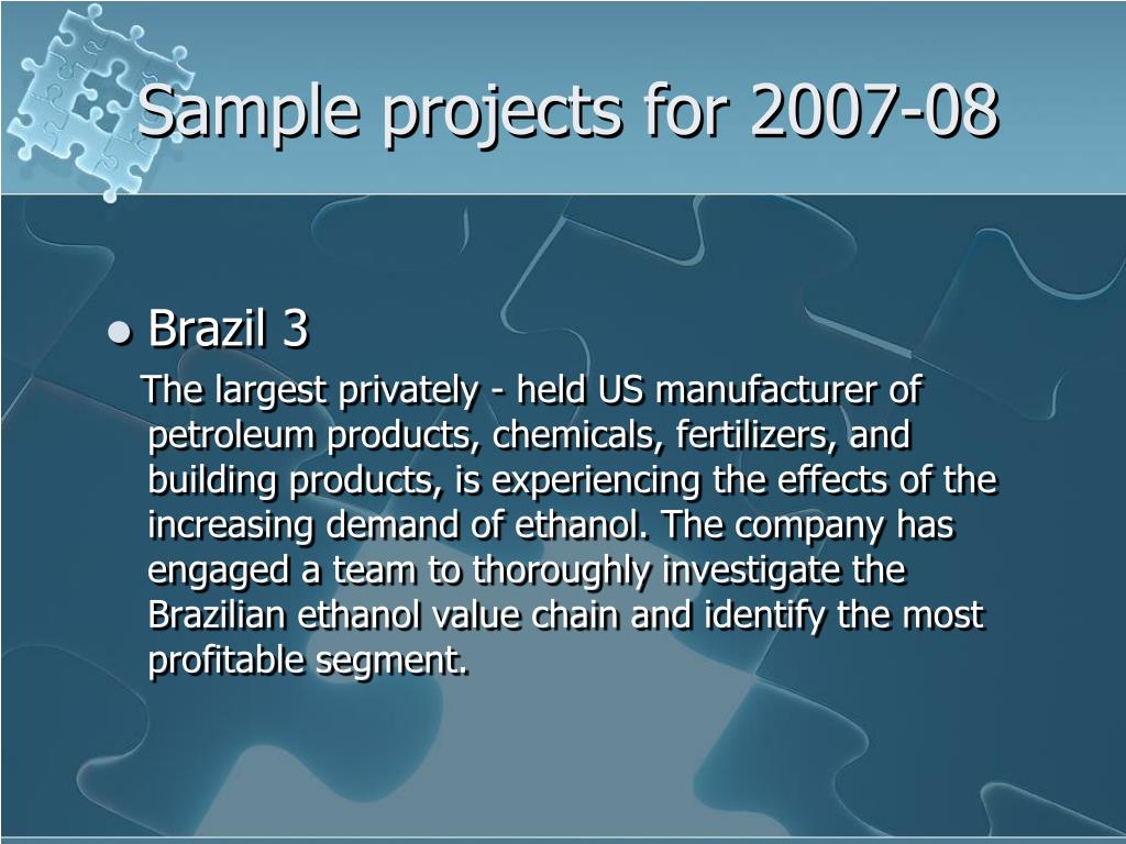 Sample projects for 2007-08