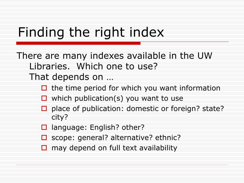 Finding the right index