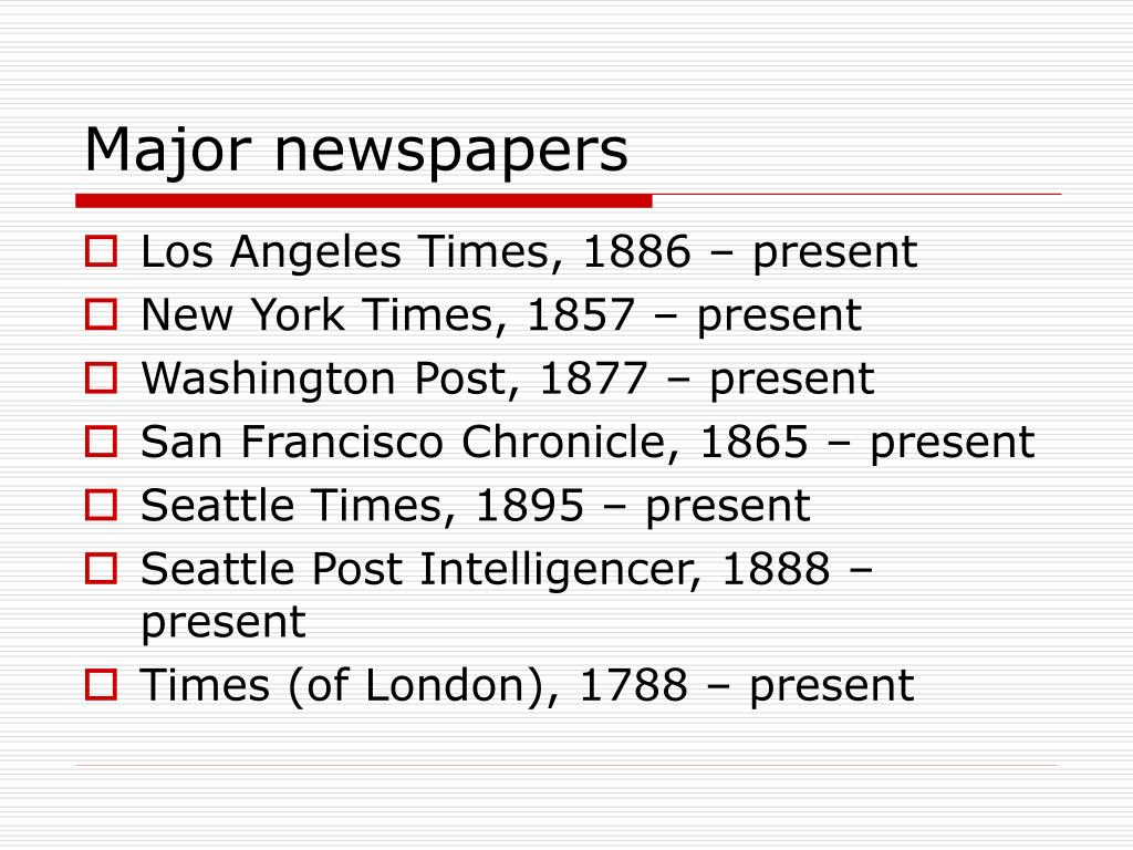 Major newspapers