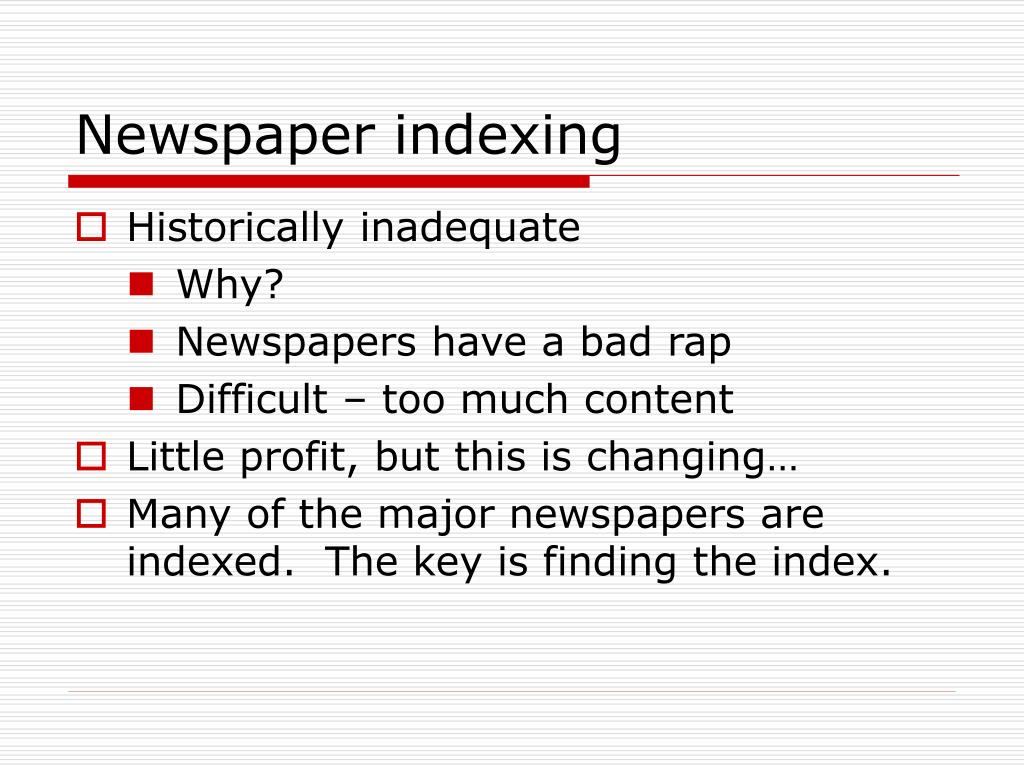 Newspaper indexing