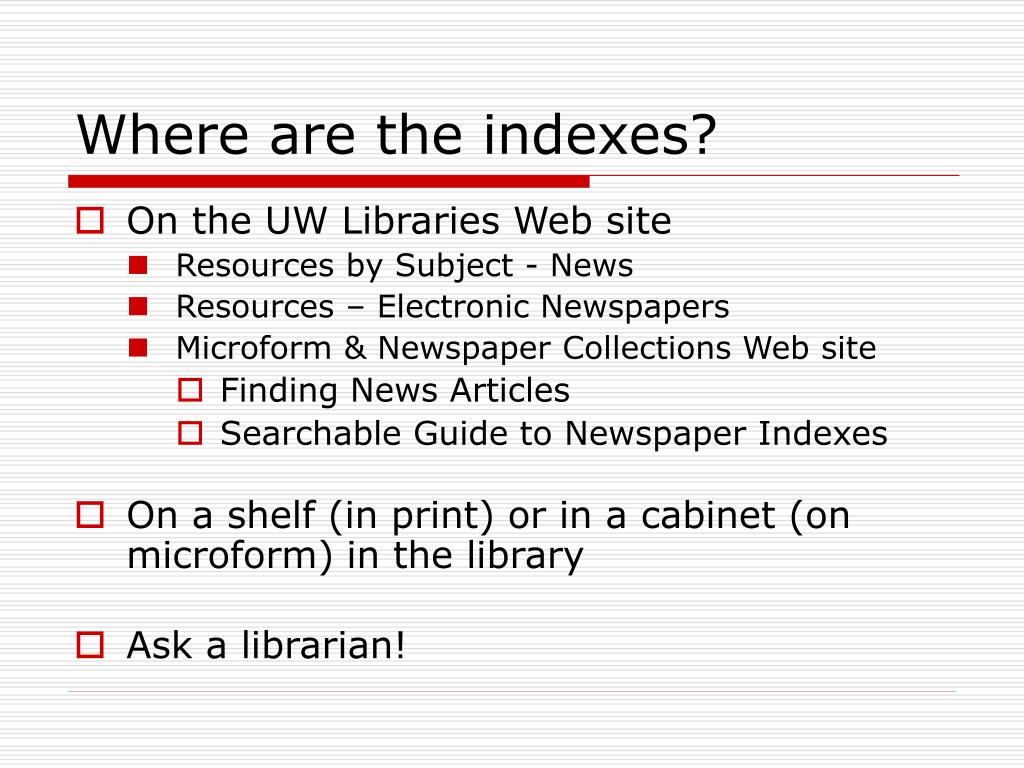 Where are the indexes?