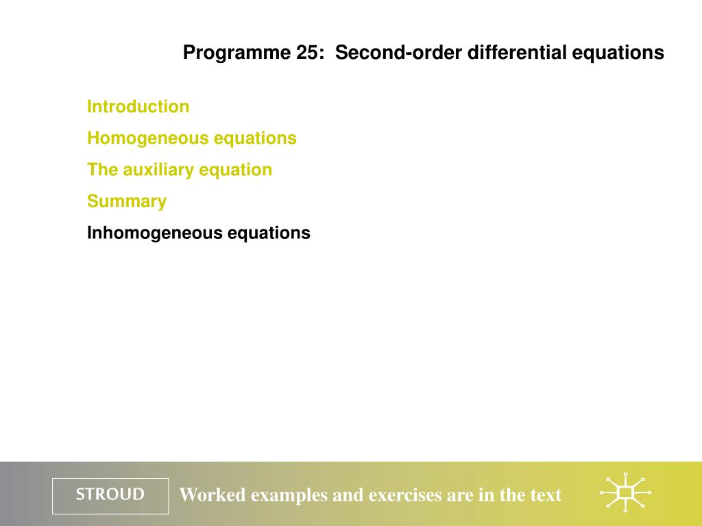 Programme 25:  Second-order differential equations