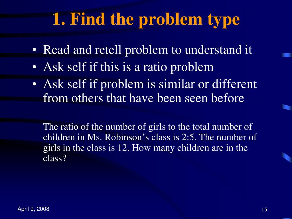 1. Find the problem type