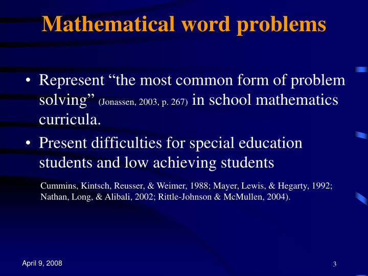 Mathematical word problems