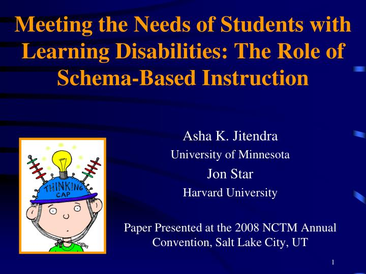 Meeting the needs of students with learning disabilities the role of schema based instruction