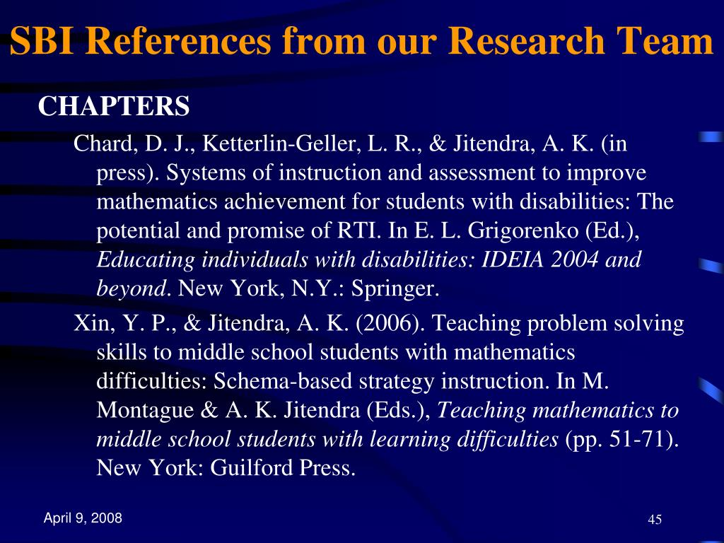 SBI References from our Research Team
