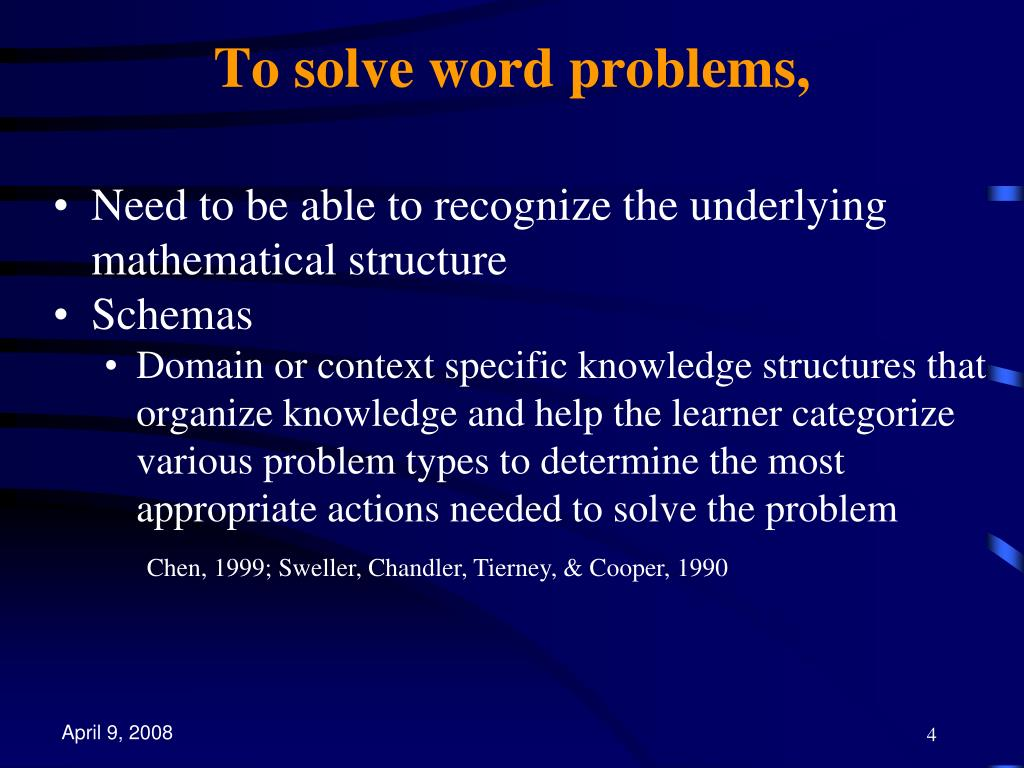 To solve word problems,