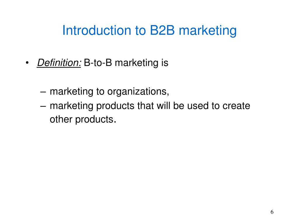 Introduction to B2B marketing