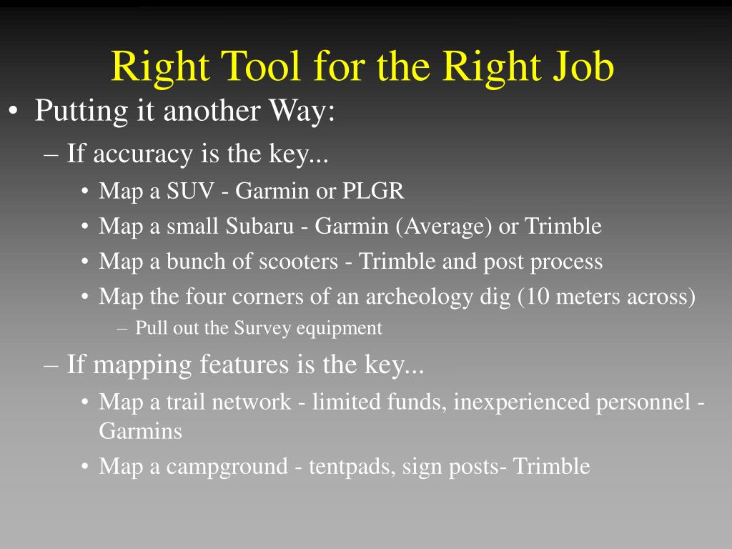 Right Tool for the Right Job