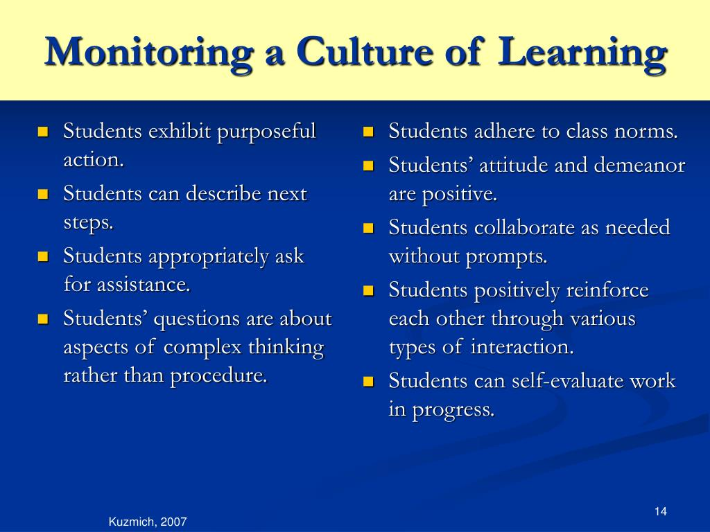 Students exhibit purposeful action.