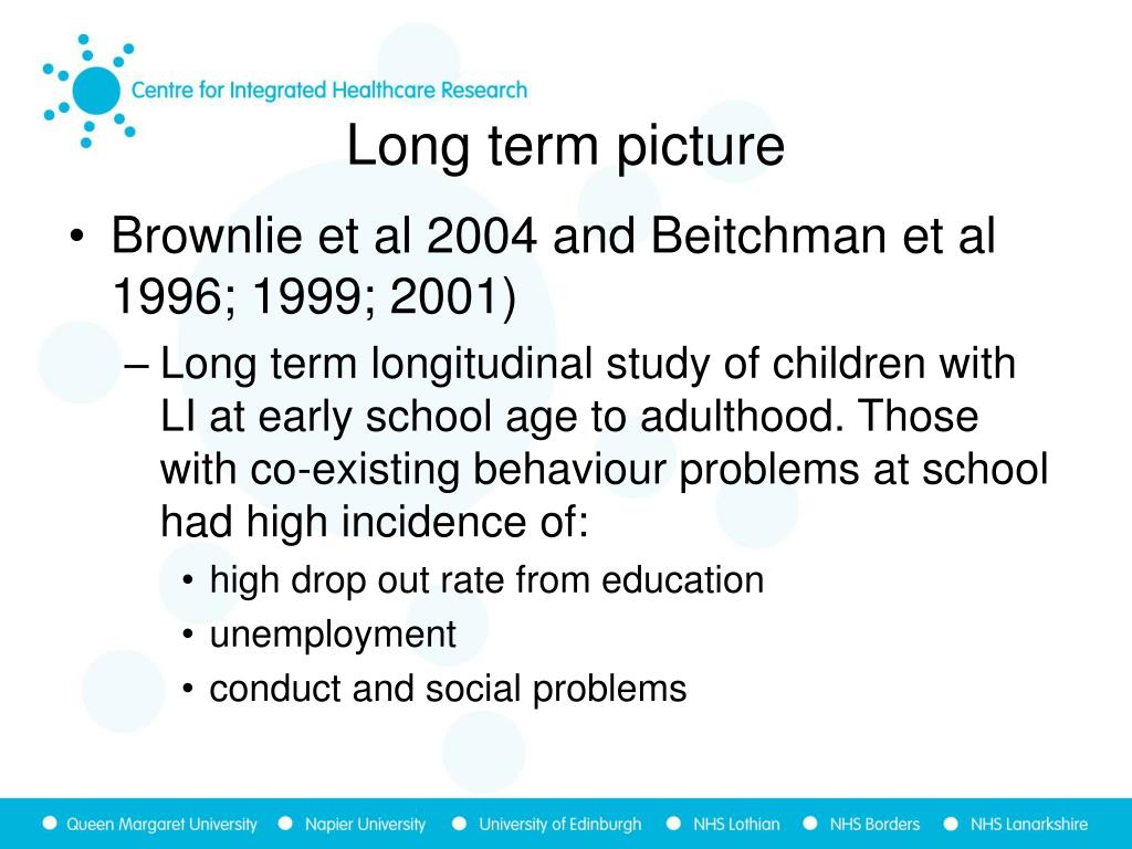 Brownlie et al 2004 and Beitchman et al 1996; 1999; 2001)