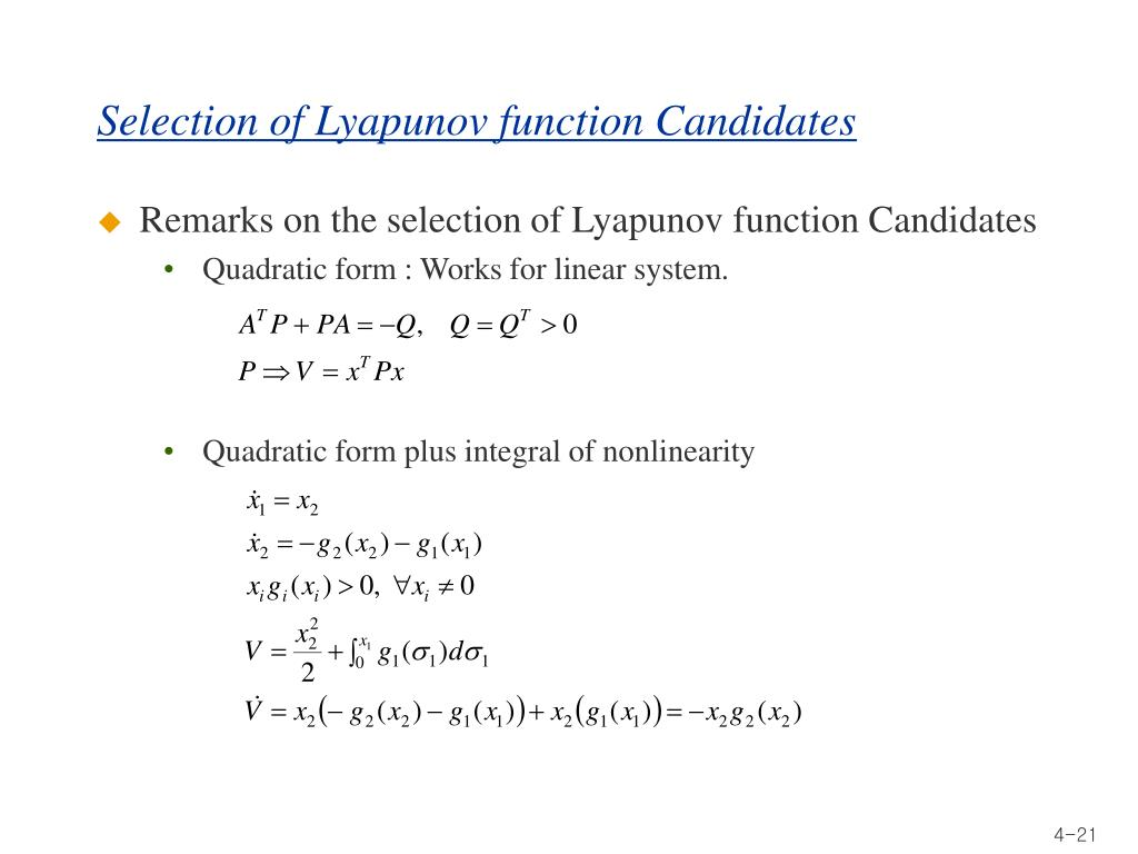Selection of Lyapunov function Candidates