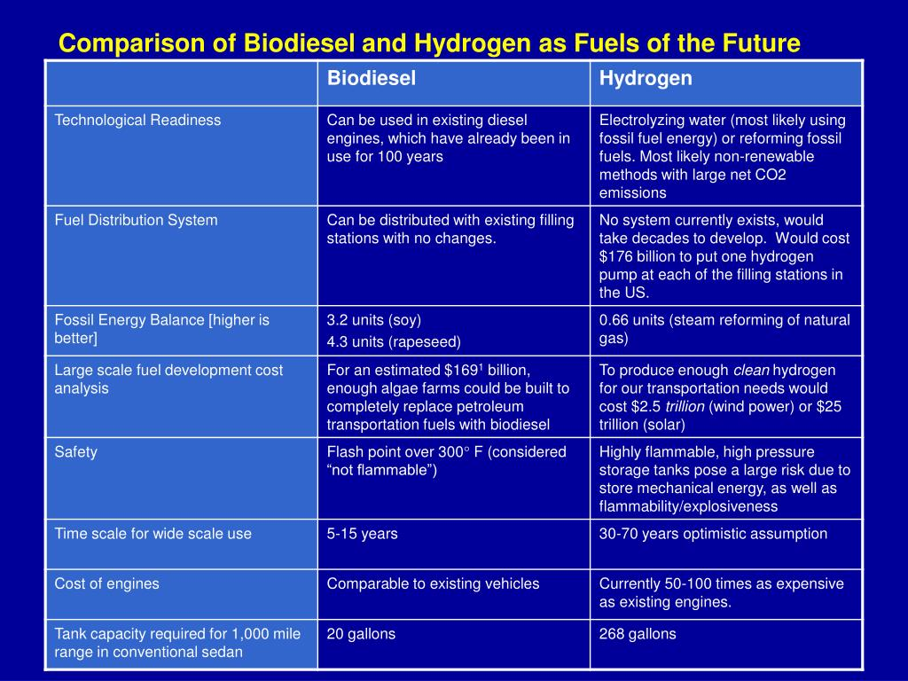 Comparison of Biodiesel and Hydrogen as Fuels of the Future