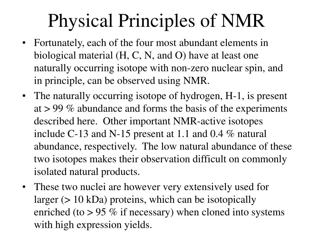 Physical Principles of NMR