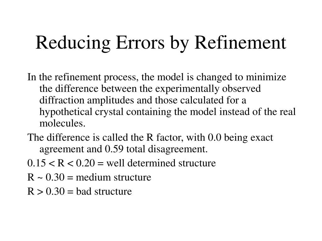 Reducing Errors by Refinement