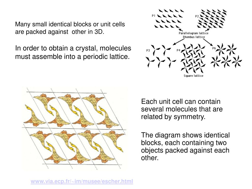 Many small identical blocks or unit cells are packed against  other in 3D.