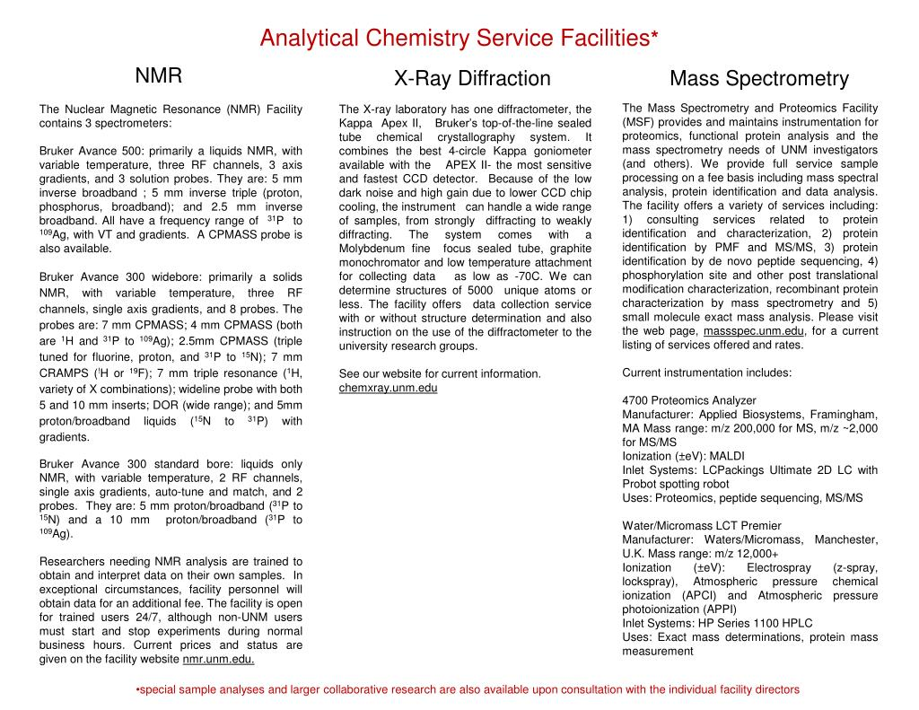 Analytical Chemistry Service Facilities