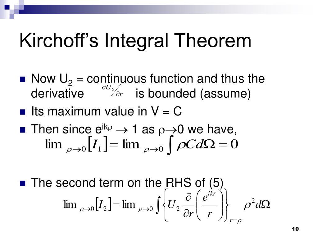 Kirchoff's Integral Theorem