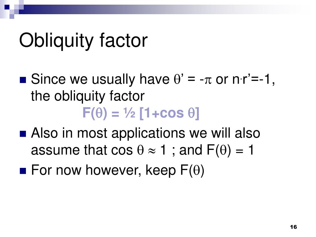 Obliquity factor