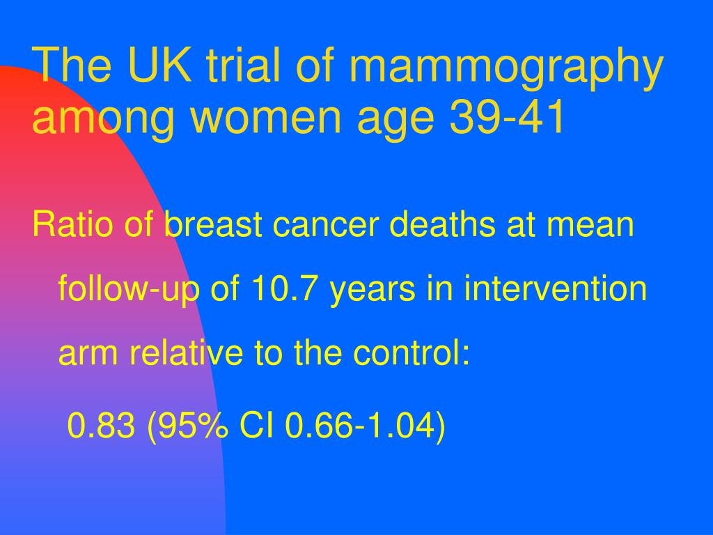 The UK trial of mammography among women age 39-41