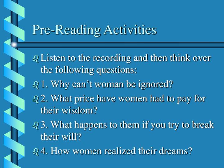 Pre reading activities