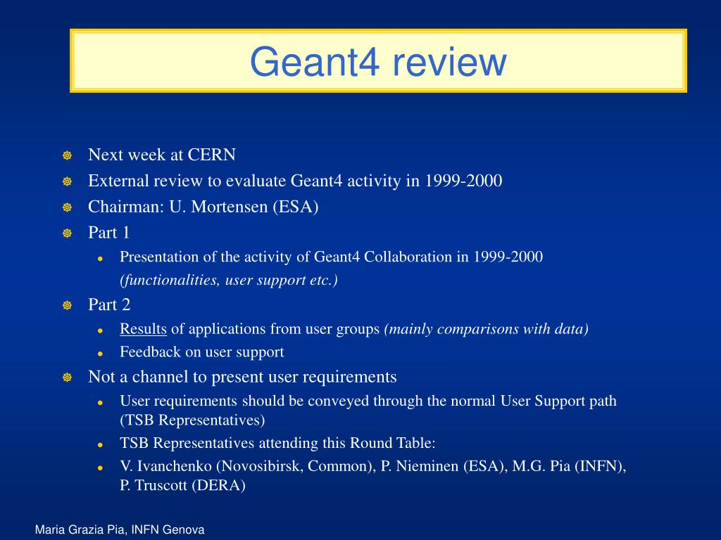 Geant4 review