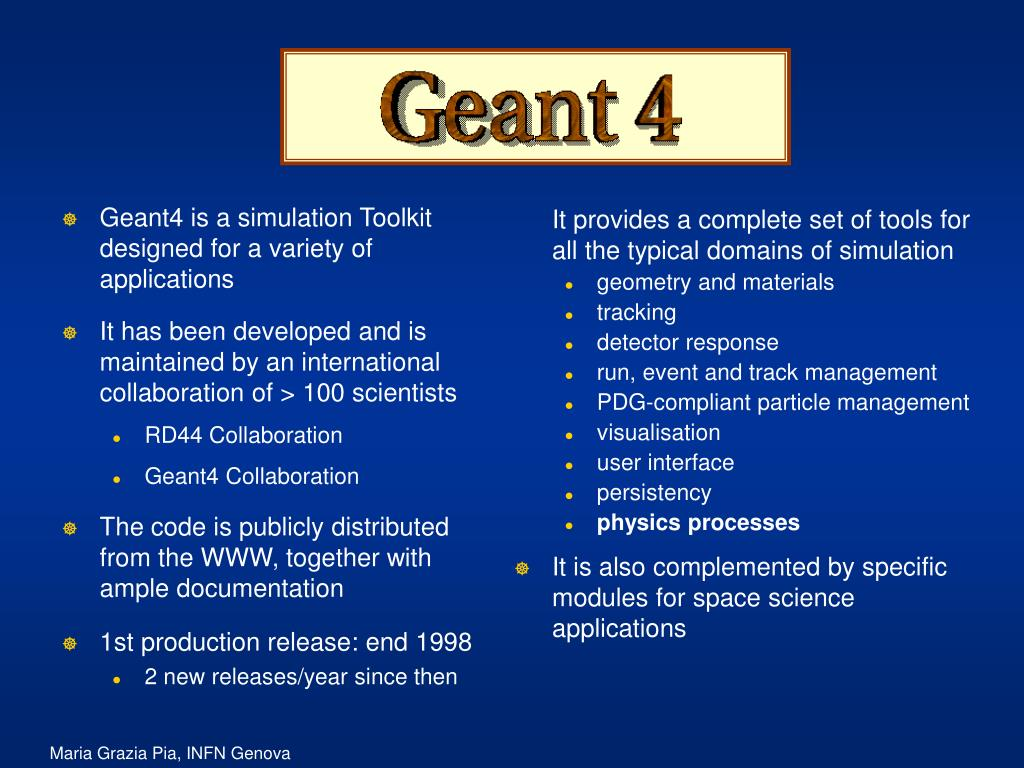 Geant4 is a simulation Toolkit designed for a variety of applications