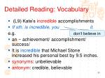 detailed reading vocabulary