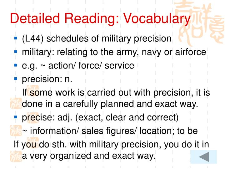 Detailed Reading: Vocabulary