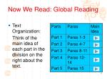 now we read global reading
