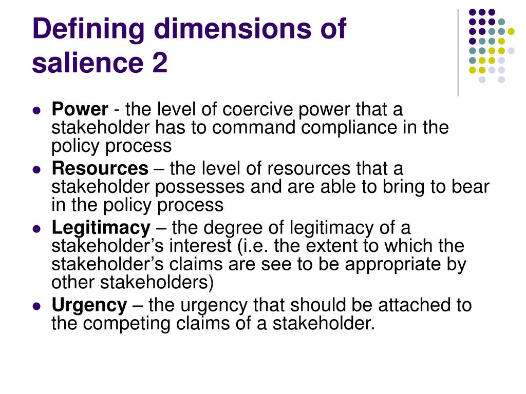 Defining dimensions of salience 2