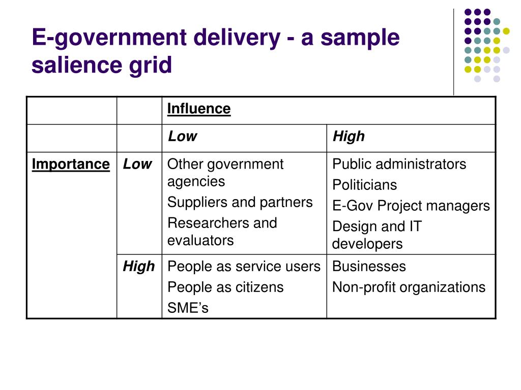 E-government delivery - a sample salience grid