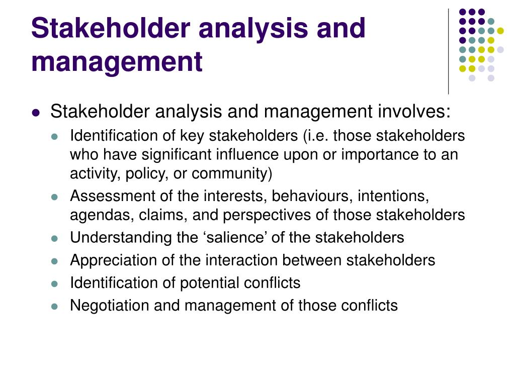 Stakeholder analysis and management