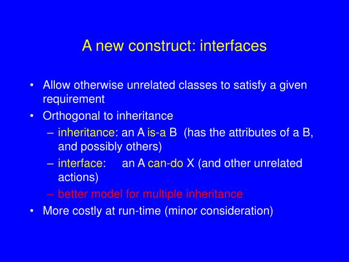 A new construct: interfaces