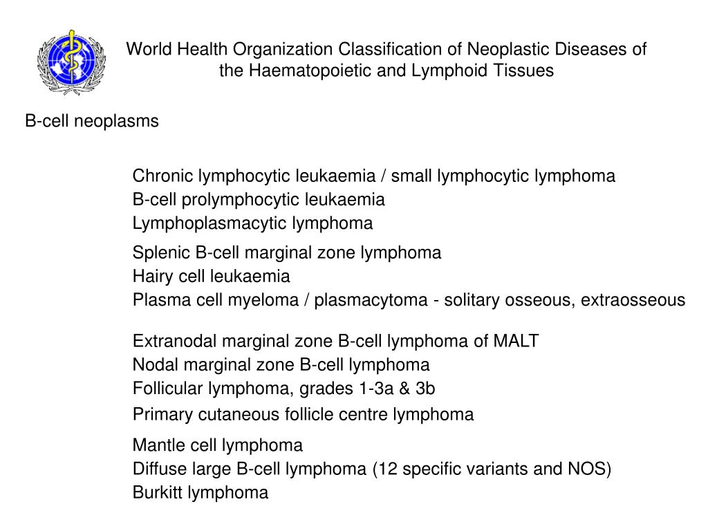 World Health Organization Classification of Neoplastic Diseases of the Haematopoietic and Lymphoid Tissues