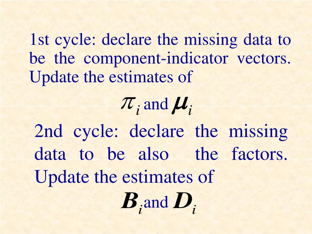 1st cycle: declare the missing data to be the component-indicator vectors.  Update the estimates of