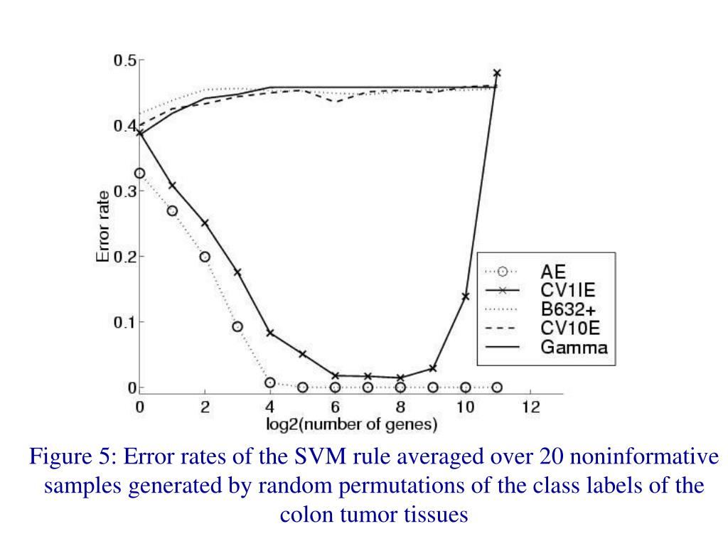 Figure 5: Error rates of the SVM rule averaged over 20 noninformative samples generated by random permutations of the class labels of the colon tumor tissues