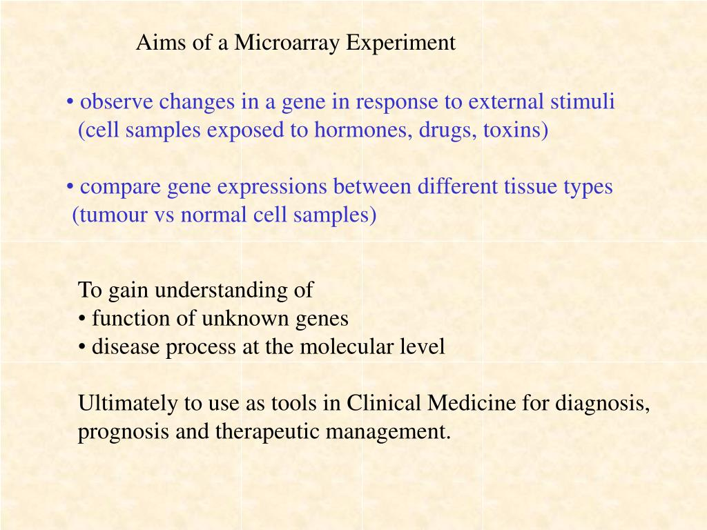 Aims of a Microarray Experiment