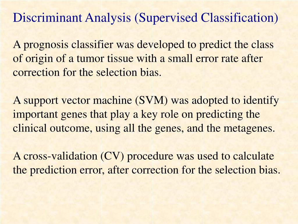 Discriminant Analysis (Supervised Classification)