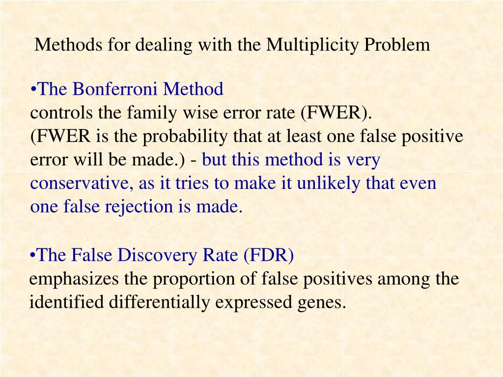 Methods for dealing with the Multiplicity Problem