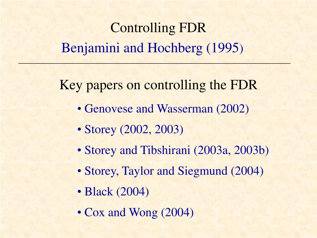 Controlling FDR