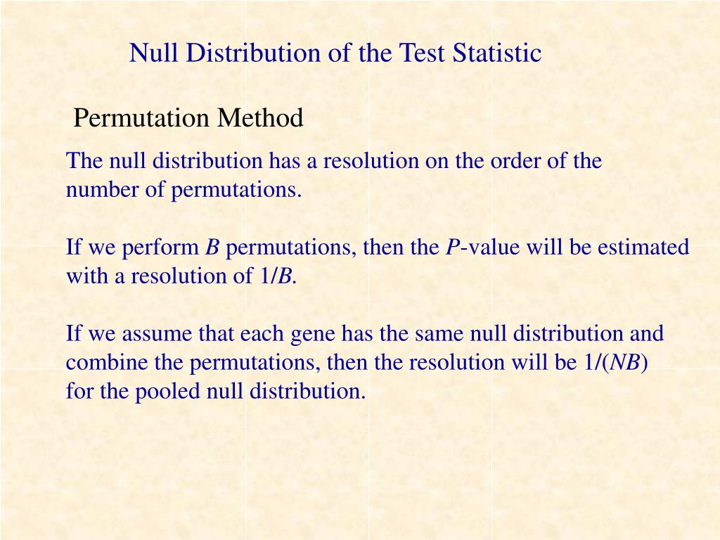 Null Distribution of the Test Statistic