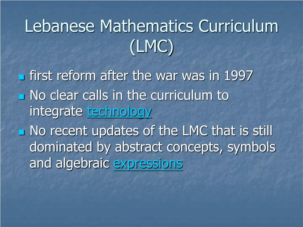 Lebanese Mathematics Curriculum (LMC)