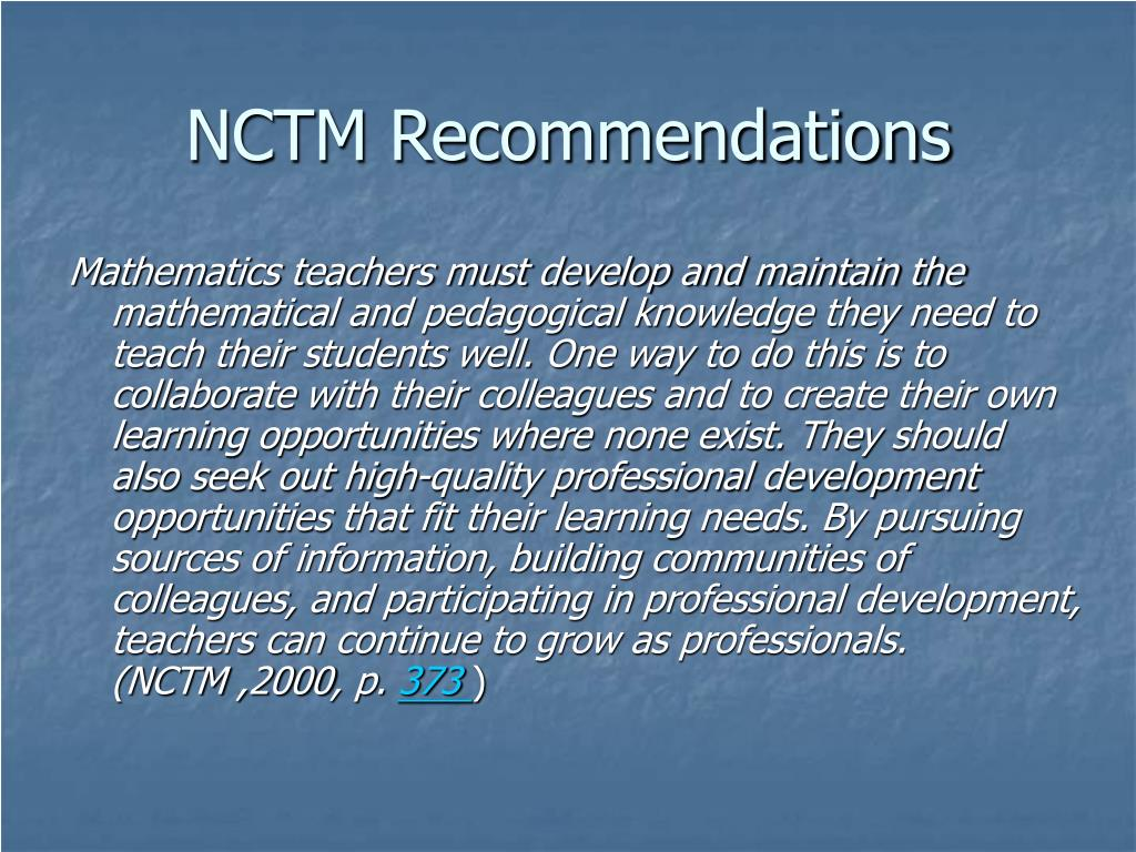 NCTM Recommendations