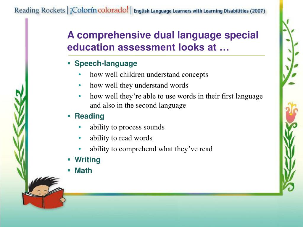A comprehensive dual language special education assessment looks at …