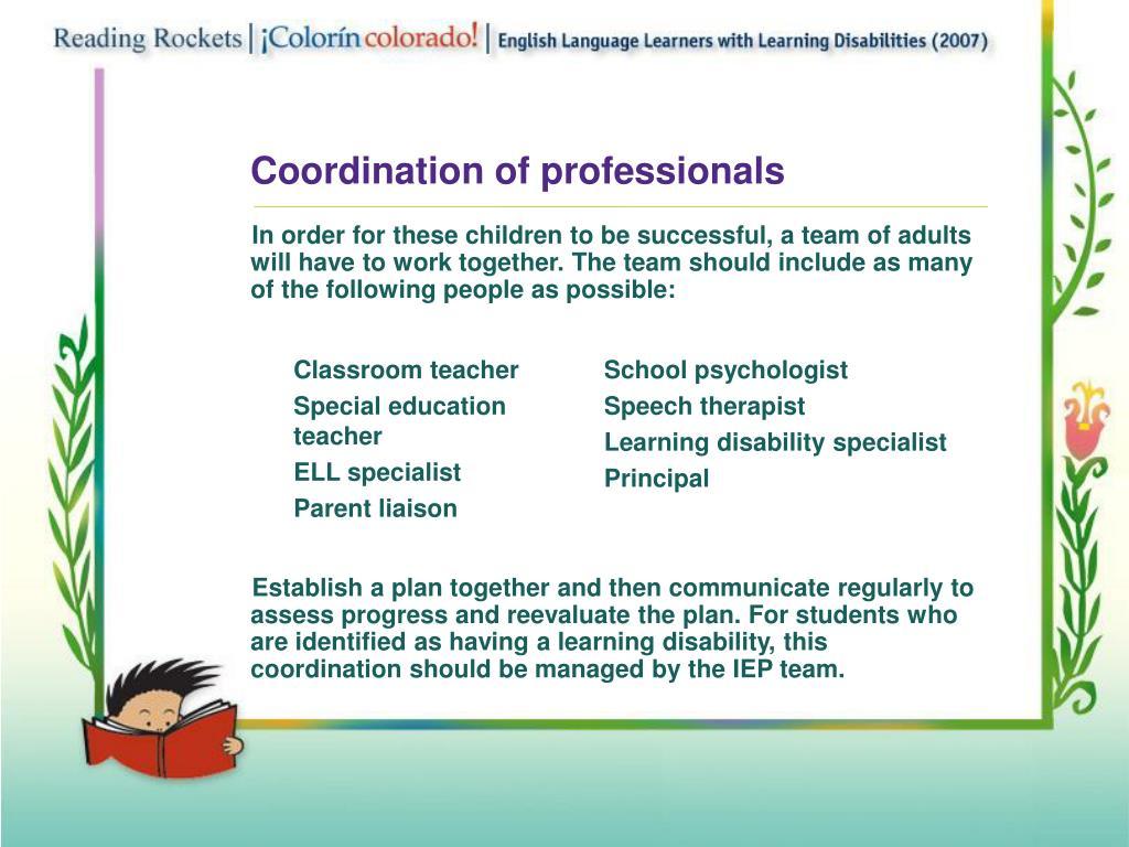 Coordination of professionals