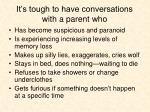 it s tough to have conversations with a parent who